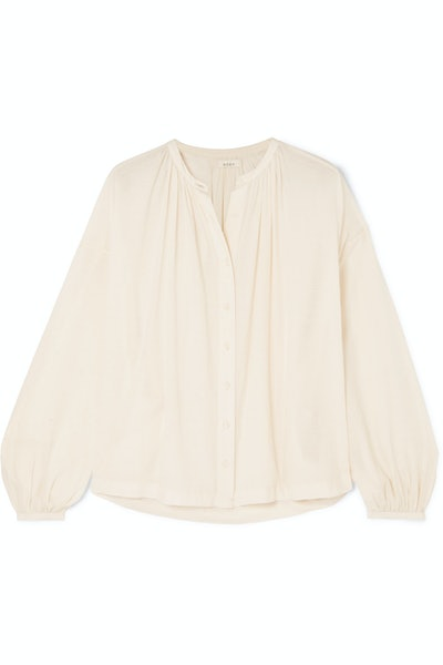 Dôen O'Keeffe gathered cotton-voile blouse