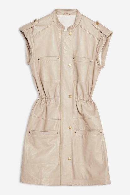 Leather Cap Sleeve Dress