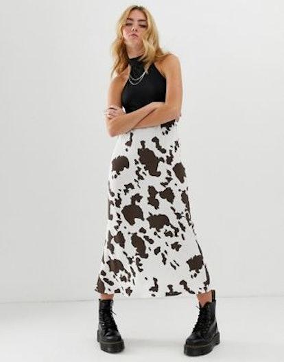 Bias Cut Midi Slip Skirt In Cow Print