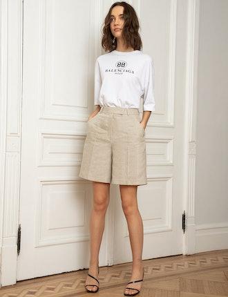 Tan Long Linen Shorts