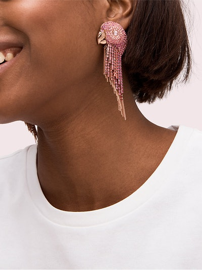 Kate Spade New York Tropical Paradise Statement Parrot Fringe Earrings