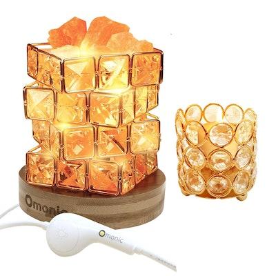 Natural Himalayan Salt Lamp and Crystal Beads Tea Light Candle Holder (2 Pack Set)