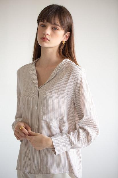 Stripe Collared Blouse