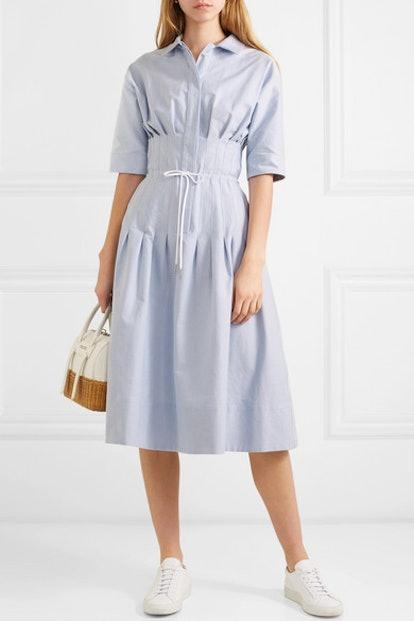 Pintucked Cotton Shirt Dress