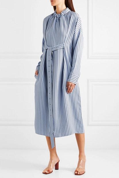 Belted Striped Poplin Midi Dress