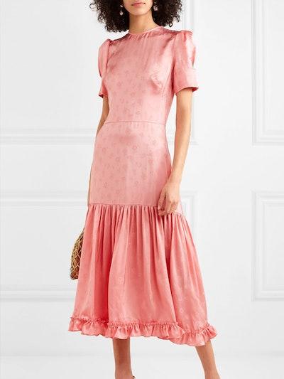 Hummingbird Ruffled Satin-Jacquard Midi Dress