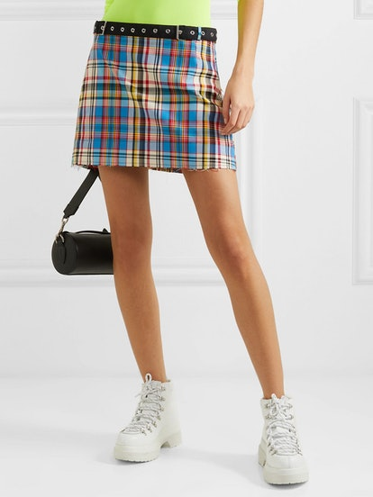 Belted Frayed Plaid Poplin Mini Skirt