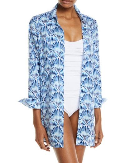 Tommy Bahama Tie-Dye Seashell Long-Sleeve Coverup Shirt
