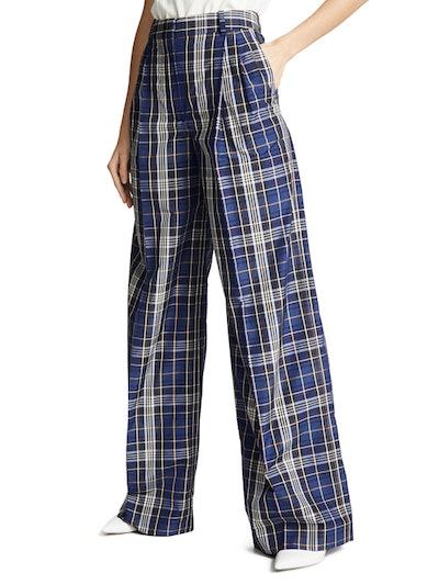 Wide Leg Plaid Pants