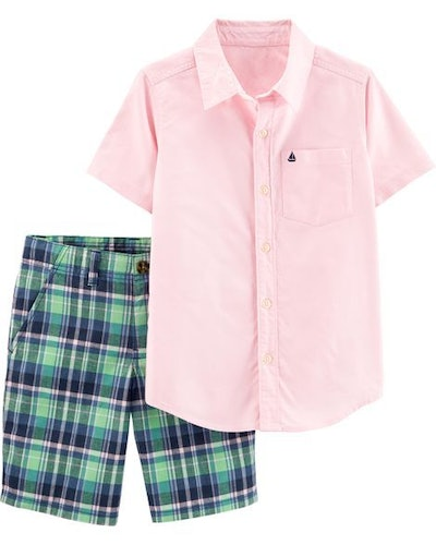 2-Piece Oxford Button-Front