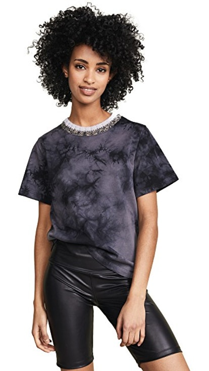 Tie Dye T-Shirt With Mohair Ribs