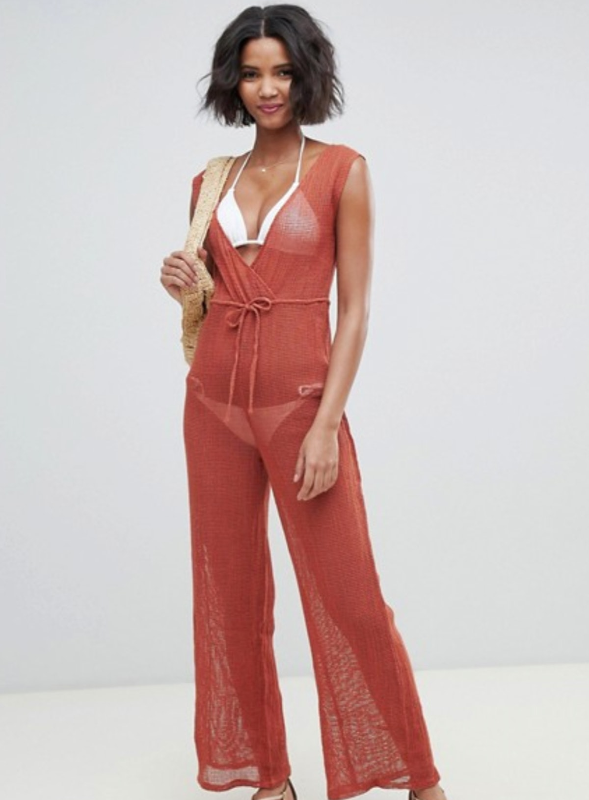 Akasa Exclusive grid mesh beach jumpsuit in spice