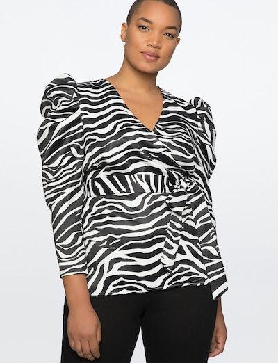 Puff Sleeve Wrap Top in Zebra