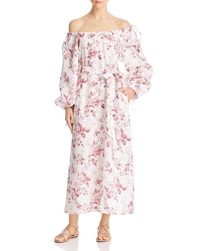 French Rose Off-the-Shoulder Maxi Dress