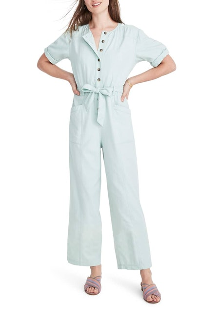 Topstitched Coverall Jumpsuit
