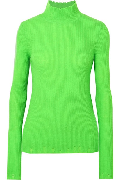 Distressed Ribbed Cashmere Turtleneck Sweater