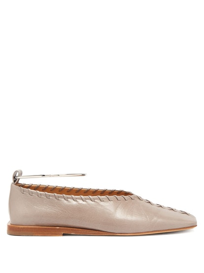 Whipstitched Leather Anklet Flats