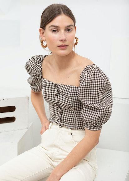 Linen Puff-Sleeve Gingham Top