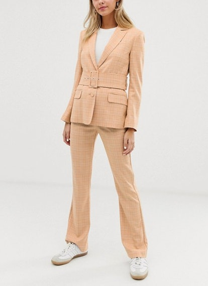 Self Belted Suit Blazer In Mustard Check