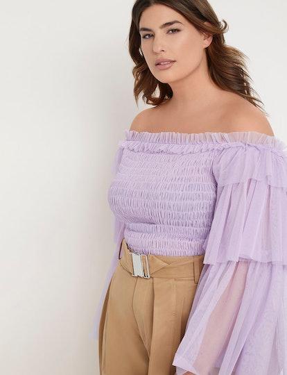 Priscilla Ono x ELOQUII Ruffle Sleeve Smocked Bodice Top