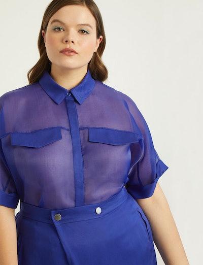 Priscilla Ono x ELOQUII Sheer Collared Shirt