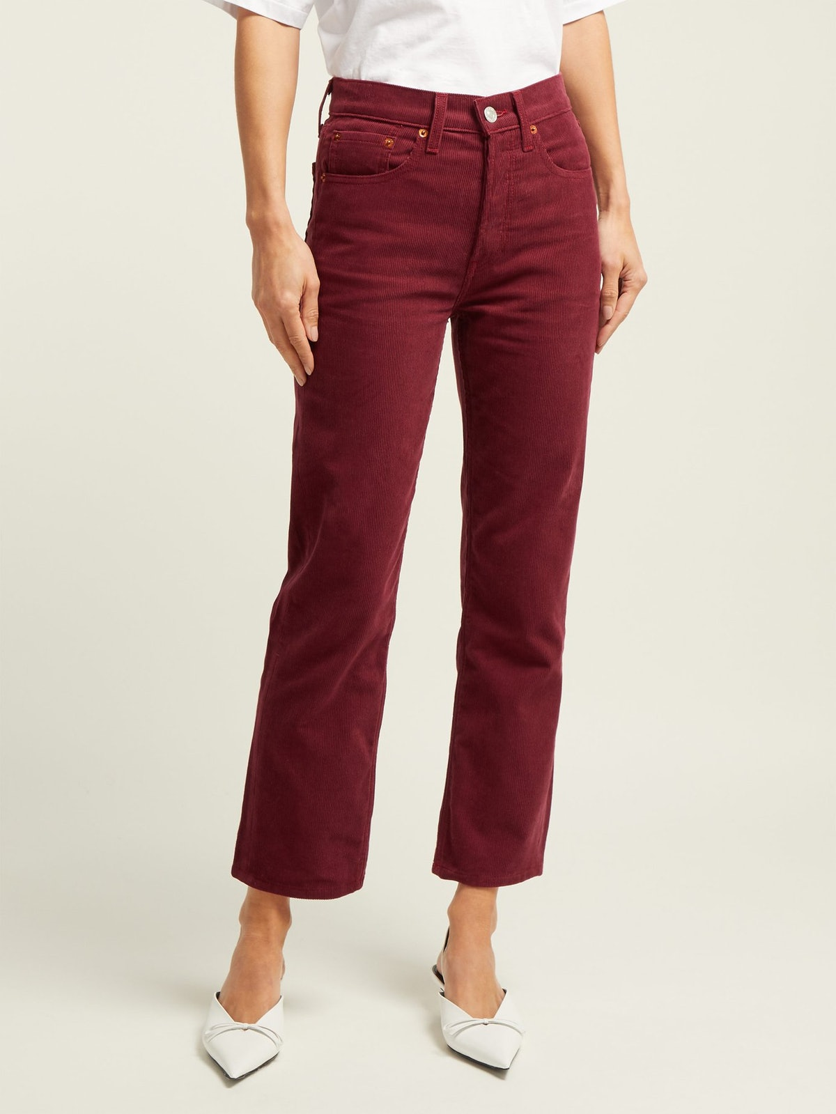 High-Rise Stovepipe Corduroy Jeans