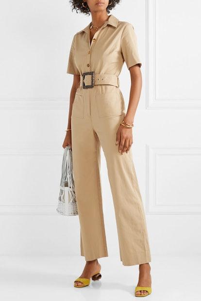Davey Belted Cotton-Blend Gabardine Jumpsuit