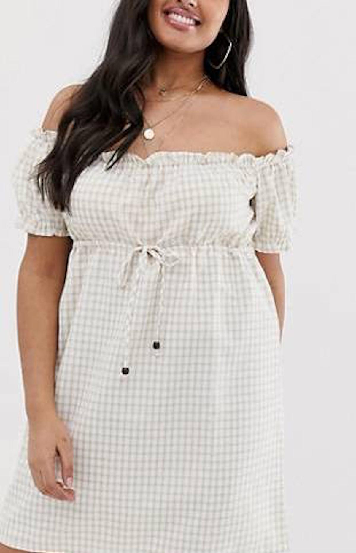 Fashion Union Bardot Mini Dress In Gingham