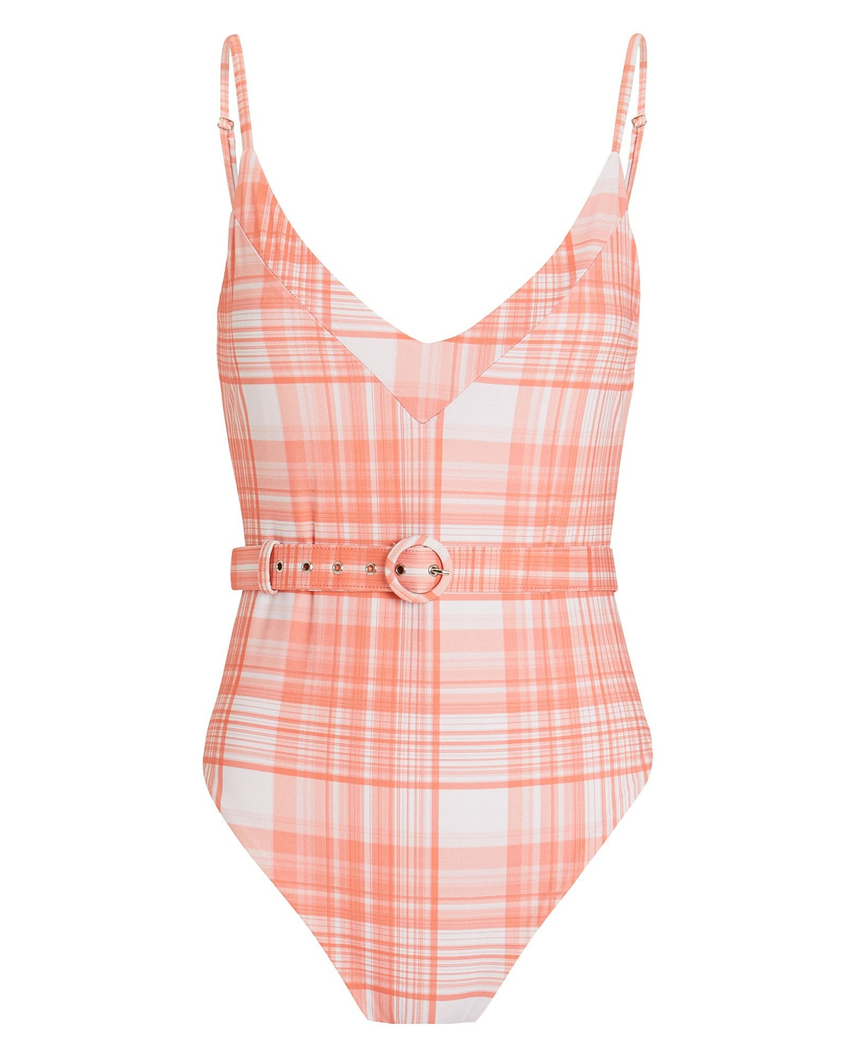Belted Plaid One-Piece