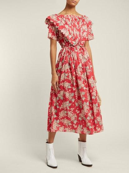 Flabella Scalloped-Trim Cotton Dress