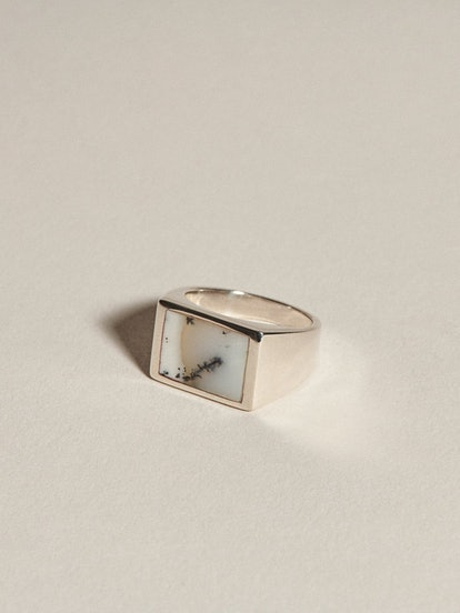 Dendritic Opal Rectangle Inlay Signet