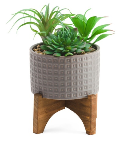 Faux Succulent Mix on Wood Stand