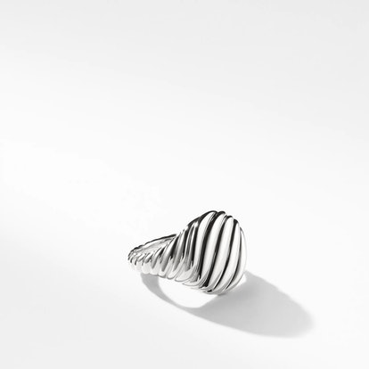 18K White Gold Sculpted Cable Pinky Ring