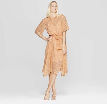 Floral Print 3/4 Sleeve Belted Flowy Midi Dress