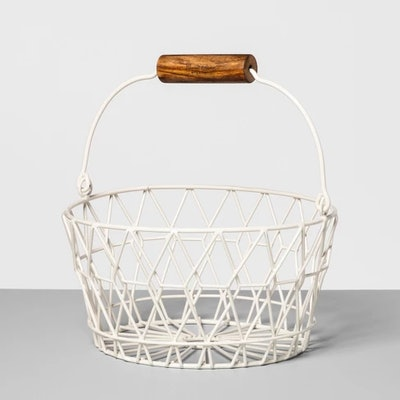 Wire Basket With Wood Handle - Cream