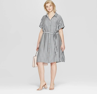 Striped Short Sleeve Shirtdress
