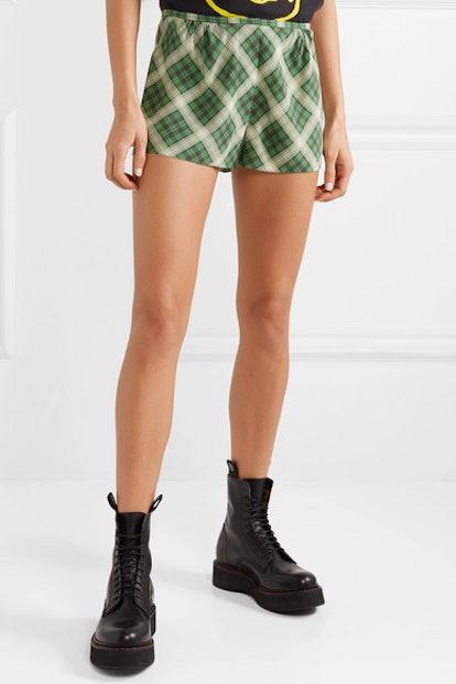 Plaid Washed-Silk Shorts