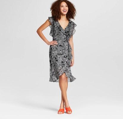 Floral Print Short Sleeve Ruffle Wrap Dress