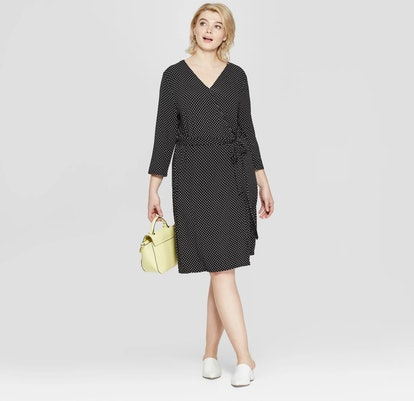 Polka Dot 3/4 Sleeve Wrap Midi Dress