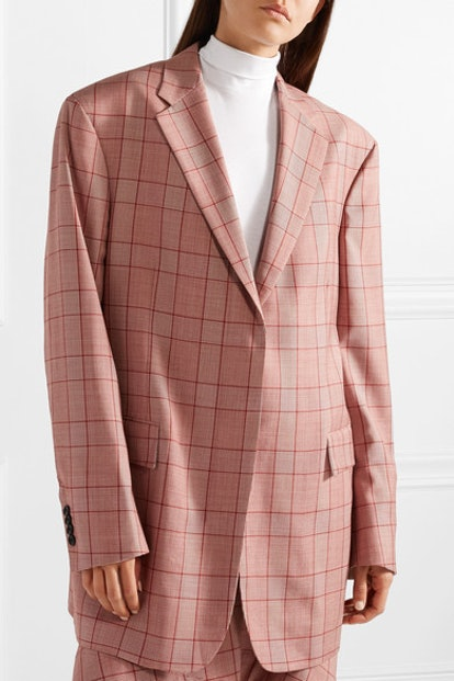 Oversized Prince of Wales Checked Wool Blazer