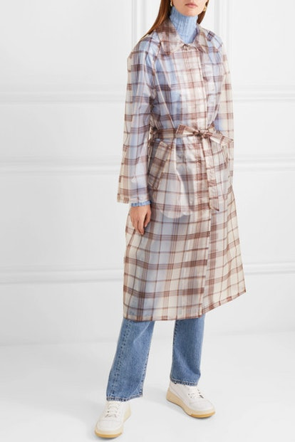 Belted Checked Rubberized PU Trench Coat