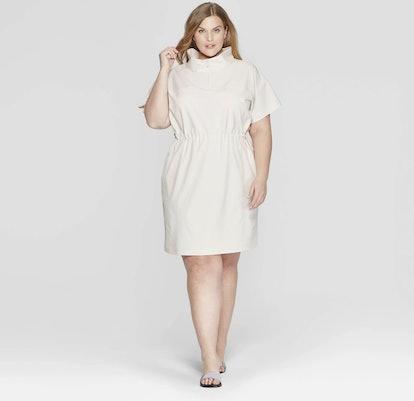 Short Sleeve Collared Tunic Dress