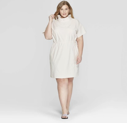 Short Sleeve Collared Tunic Dress