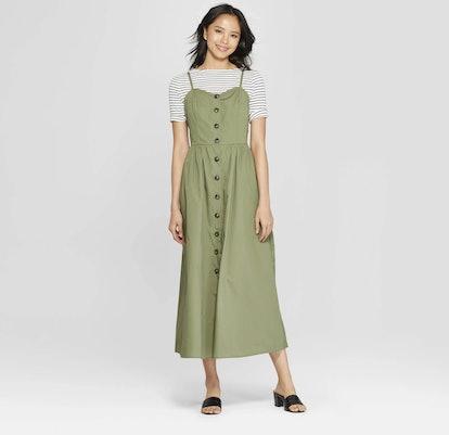 Sleeveless V-Neck Button-Down Maxi Dress
