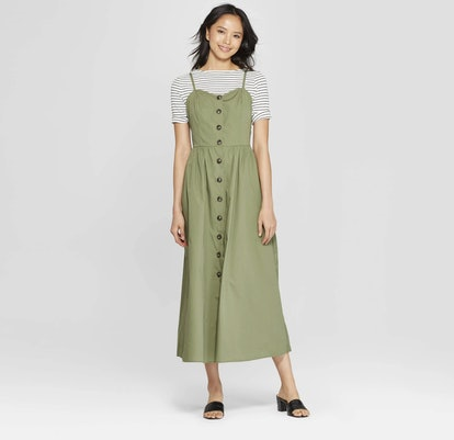 Sleeveless V-Neck Button-Down Maxi Dress