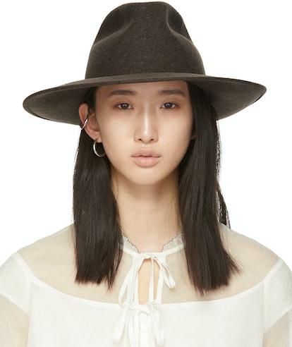 Brown Wool Wide Brim Hat