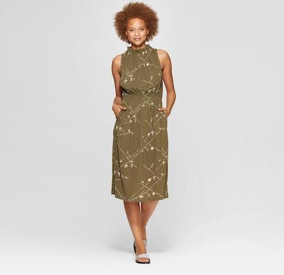 Sleeveless Mock Turtleneck Midi Dress