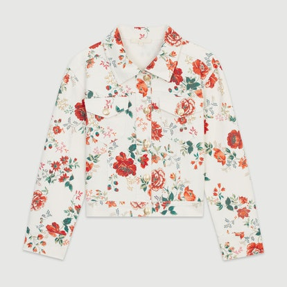 Denim Jacket with Floral Print
