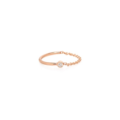 14K Wire and Chain Bezel Diamond Ring