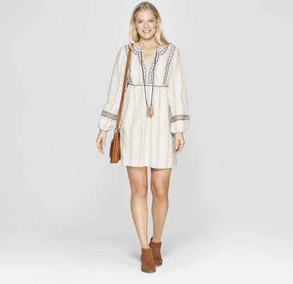 Long Sleeve V-Neck Dress With Embroidery and Tassels
